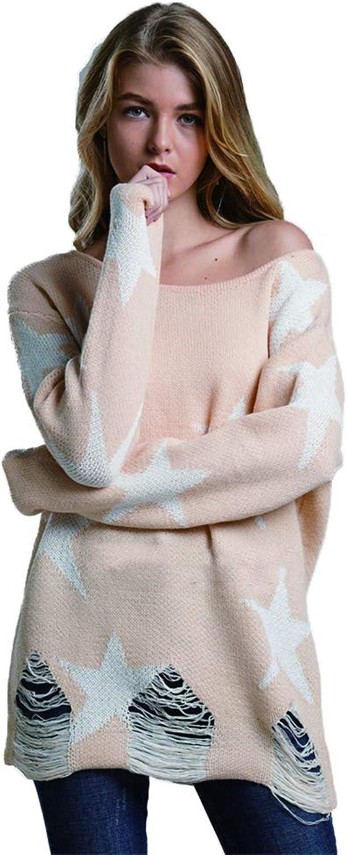 ADLISA Women's Casual Long Sleeve Dropped Shoulder Sweatshirt with Star Graphic Crop Tops