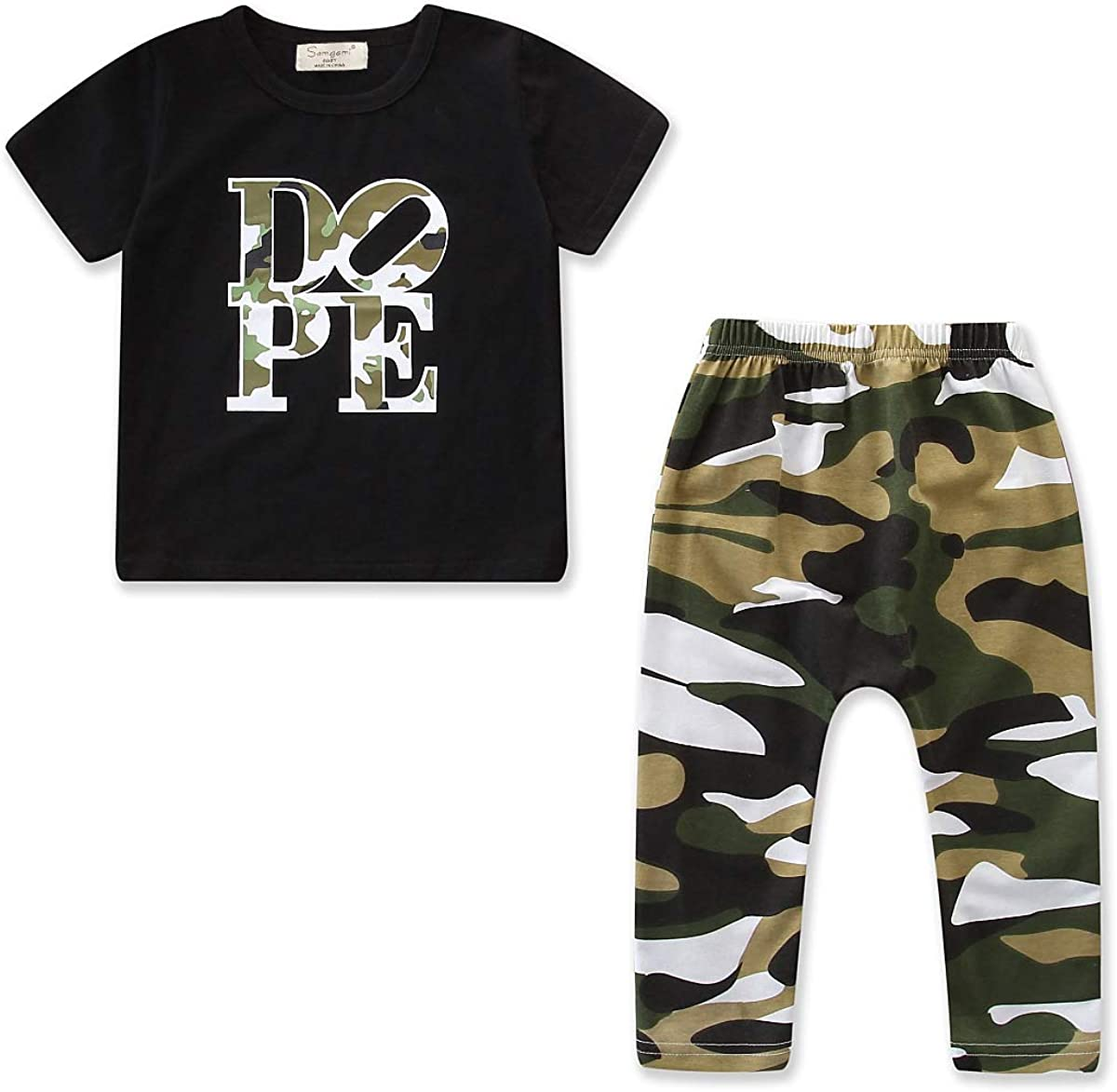 Toddler Boys Summer Clothes Camouflage Short Sleeve Tops + Pants Baby Boy 2PC Summer Outfit Set