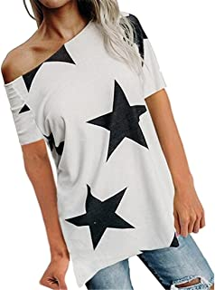 FSSE Womens Casual Short Sleeve Star Print Cold Shoulder Loose Fit Blouse Top T-Shirt