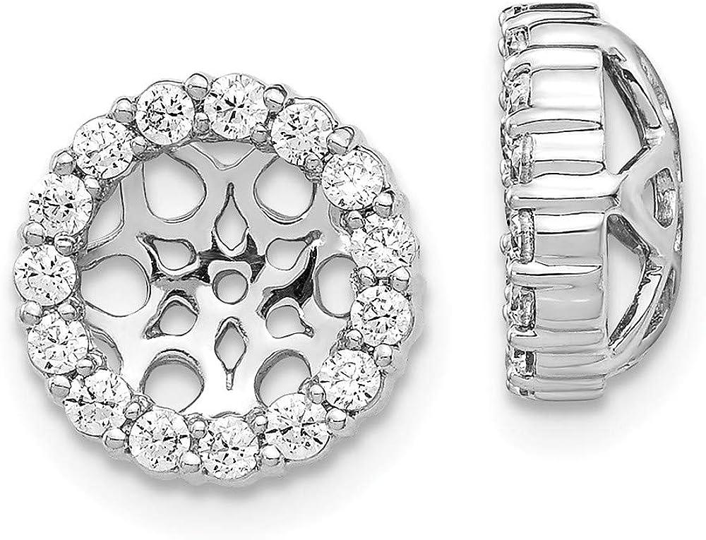 14K White Gold Diamond Round Earring Jackets 6.50 mm Opening for Stud Earrings (0.48Cttw)