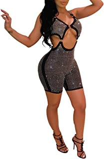 Womens Sexy Glitter Rhinestone Zipper 2 Piece Outfits Sleeveless Crop Top + Knee Length Bodycon Shorts Sets