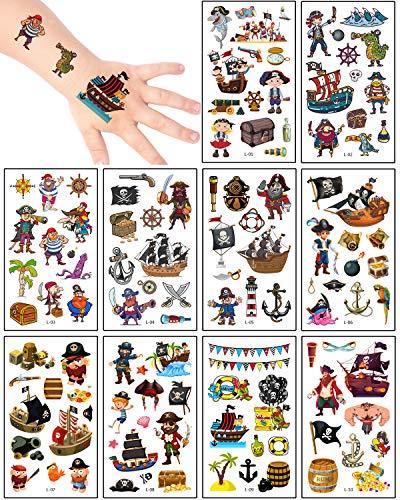 Aoligei Tattoo Kinder Piraten Tattoos Set,20 Blätter Wasserdichte Kindertattoos , Hautfreundliche Kindertattoos Berufe,temporäre tattoos Kindergeburtstag Mitgebsel, Party, Festival
