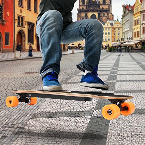 Aceshin Electric Skateboard Motorized Skateboard 20 KM/H Top Speed, 250W Motor,7 Layers Maple Longboard with Wireless Remote Control Gift for Adult Kids Teens (Orange)
