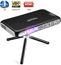 Mini Projector Portable, AUCARY 3D Pico Video Projector for Home Theater. 200 ANSI Lumen Support 4K Movie, with Android 6.0, Built-in Battery, Upgrade Speaker WIFI Bluetooth HDMI For Outdoor and Games