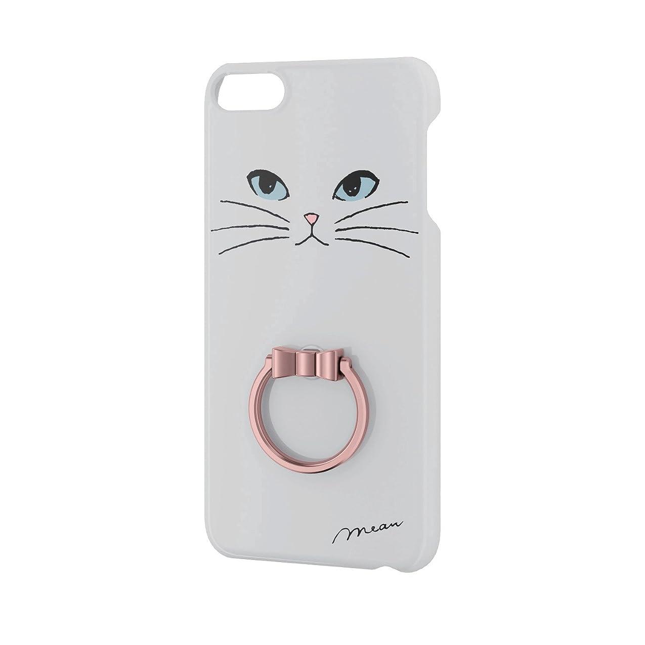 苦難子供時代製品エレコム iPod Touch 【第6世代】 ケース ポリカーボネート素材 リング付き 白ネコ AVA-T17PVRJWH