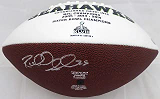 Richard Sherman Autographed White Logo Football Seattle Seahawks RS Holo #13660