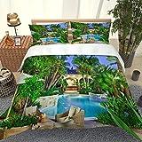 PKTMK Bettwäsche 135x200cm 3D Blick auf den Gartenpool Bettbezug Set 3 Teilig Bettwäsche Bettbezüge Mikrofaser Bettbezug mit Reißverschluss und 2 Kissenbezug 80x80cm