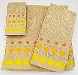 Confort Home M.T (Camel Bolas) Juego de Toallas de baño 3 Piezas (1 Toalla de baño, 1 Toallas de Manos y 1 Toalla Cara) 100% algodón, Toallas Ligeras y absorbentes. (Camel)