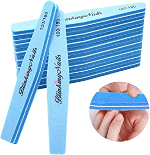 Sponge Nail File and Buffers for Nail Art Care Double Sides Design 100/180 Grit Nail Buffer Professional Manicure Nail Tools Color Sky Blue Pack of 10pcs