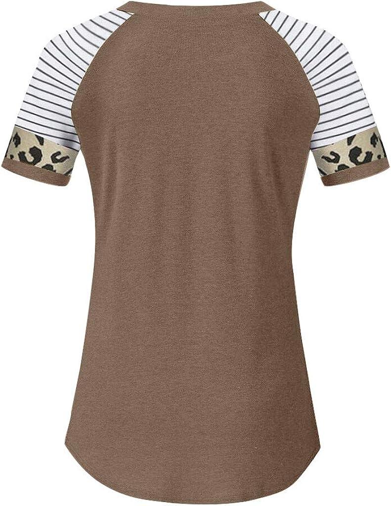 Women Short Sleeve Tops, Womens Comfy Leopard Stripe Print Cotton Tunic Top Shirt Casual Tees Pullover Blouse T Shirt Khaki