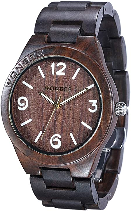 Orologio in legno wonbee ebano/sandalo da uomo e donna - orologio di artigianato fatto a mano brown-GI