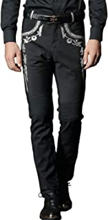 FANZHUAN Mens Black Silver Embroidery Pants Slim Fit Casual