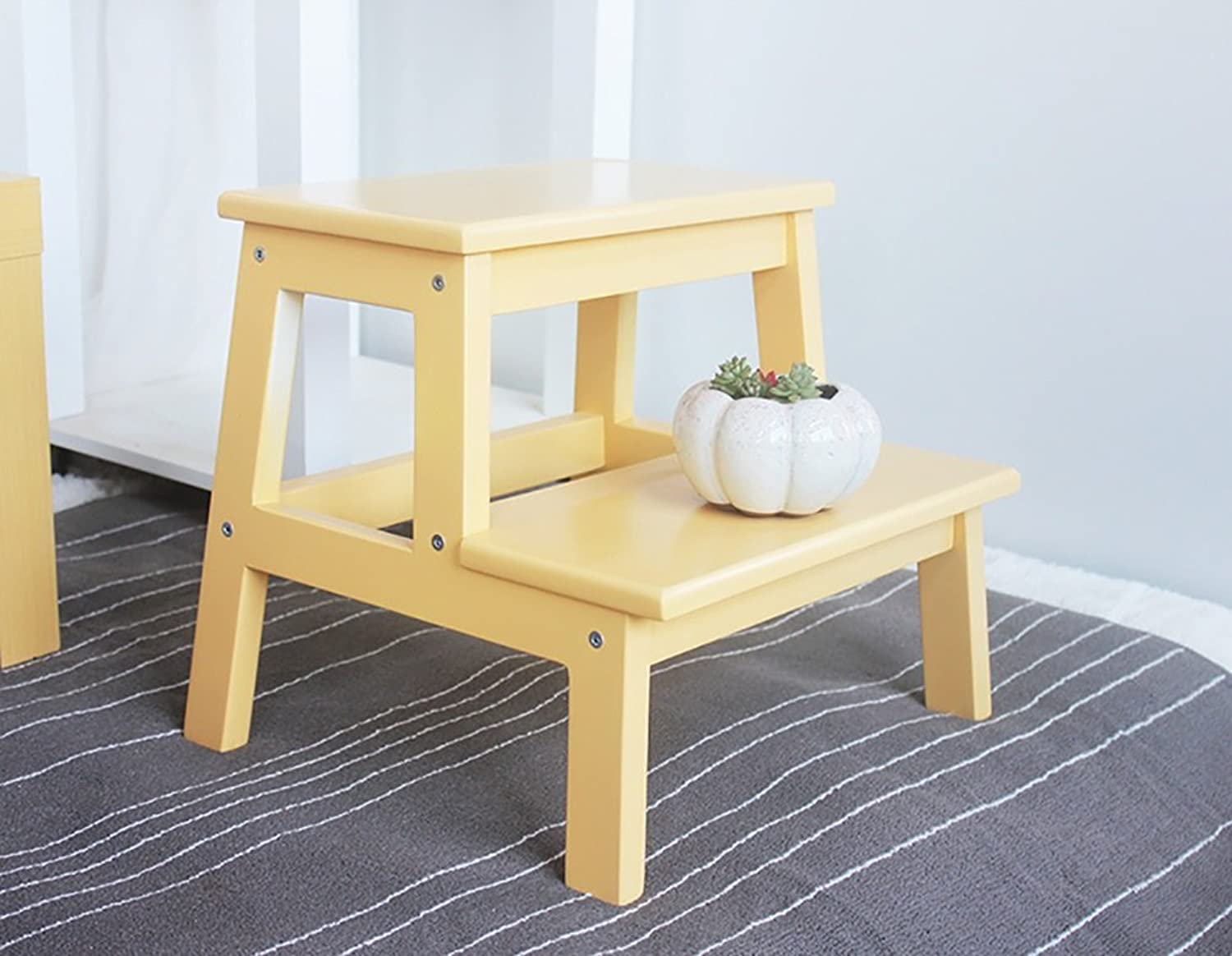 Wooden Solid 2 Step Stool Wood Stool Bench shoes Bathroom Stool (color   Yellow, Size   L)