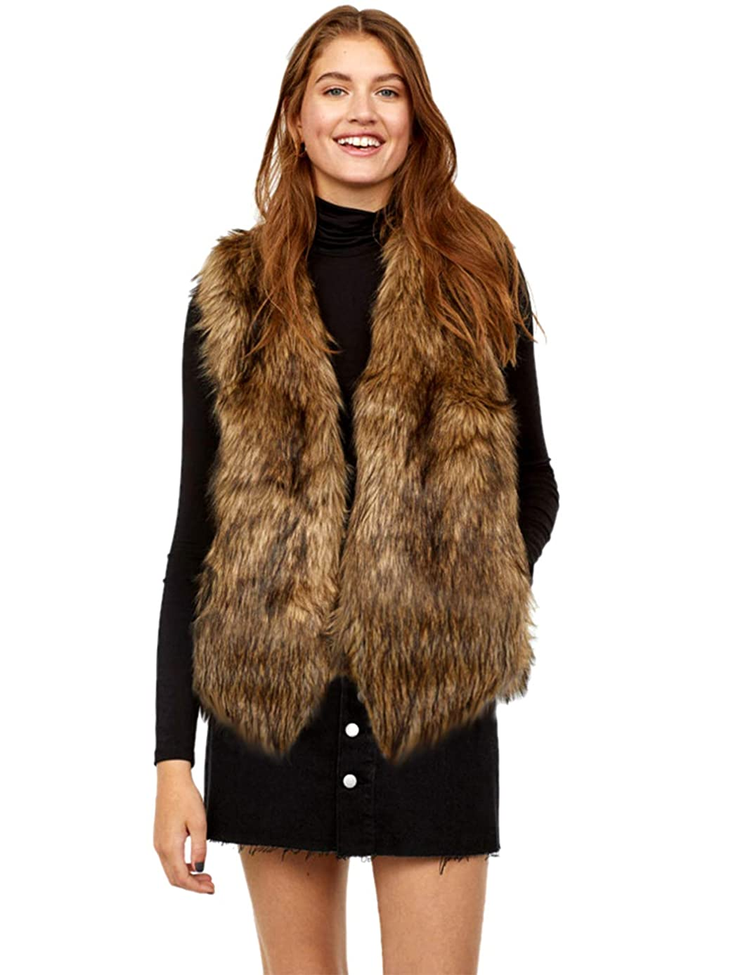 Edary Women Faux Fur Vest Brown Vintage Warm Waistcoat Sleeveless Jacket