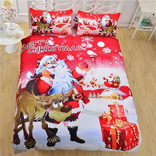 jaspenybow Juego de 3 sábanas de Navidad de Santa Claus, Juego de Funda nórdica con Estampado de Dibujos Animados...