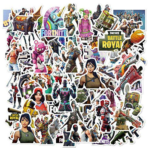 Fortnite Game Stickers Decals Water Resistant For Laptops, Phones, Phone Case, Consoles, Walls, Luggage Case, Books, Battle Royal, Guns, Characters, Game (50 Stickers)
