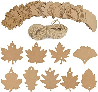 BUYGOO 180 PCS Leaf Tags Gift Tags Place Cards Name Tags Blank Cards Hang Tags Kraft Paper Tags Maple Fall Leaves Shape - 3.2