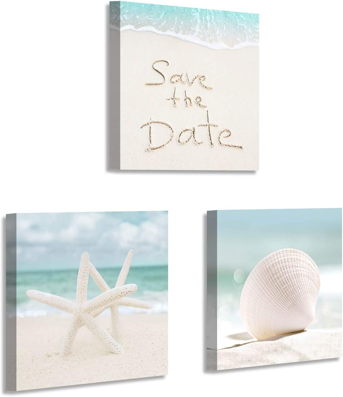 Seaside Beach Canvas Wall Art: Starfish and Seashell Artwork Picture Print on Canvas for Bedroom ( 12
