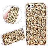 Diamant Bling Glitter Coque pour iPhone 11 Pro Max 6,5'', DasKAn Fait à la Main Brillant 3D Strass Housse de Protection Anti-Rayures Antichoc Transparent Silicone Gel TPU Étui de Téléphone, Or