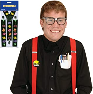 80's Eighties Nerd Kit Costume with Arcade Suspenders   Includes Taped Eyeglasses, Pocket Protector, Button, and Suspenders