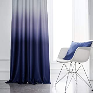 Yakamok White and Indigo Blue Gradient Color Ombre Blackout Curtains Thermal Insulated Rod Pocket Room Darkening Window Drapes for Living Room/Bedroom (Indigo Blue, 2 Panels, 52x84 Inch)