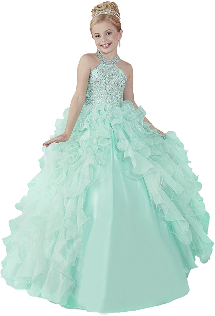 WZY New Girls' Long Pageant Ruffle Dresses Applique Beading Floor-Length Prom Party Gowns