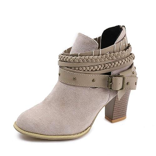 3739d3881 Mujer Botas con Tacón Cuña Altos Cremallera Otoño Chelsea de Vestir Piel  Transpirable Botines Zapatos de