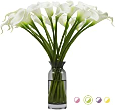 Artificial Flowers Real Touch Calla Lily Wedding Bouquet 18pcs Home Garden Party Festival Decoration (White)
