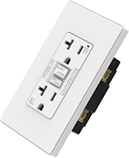 ELEGRP 20 Amp GFCI Outlet, 5-20R Ultra Slim GFI Dual Receptacle, TR Tamper Resistant with LED Indicator, Self-Test Ground Fault Circuit Interrupters, Wall Plate Included, UL Listed (1 Pack, White)