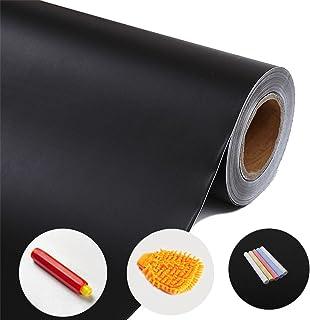Pizarra Adhesiva Negra - WER Pizarra Pegatina Adhesiva Lámina/ Protección del medio ambiente/ No Tóxico/ con 5 Tizas, Esponja, Clip de tiza - 120*200cm