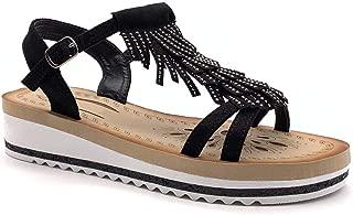 Zapatillas Moda Sandalias Vendimia/Retro comode Correa de Tobillo Mujer Fleco Strass Hebilla Plataforma 4.5 CM