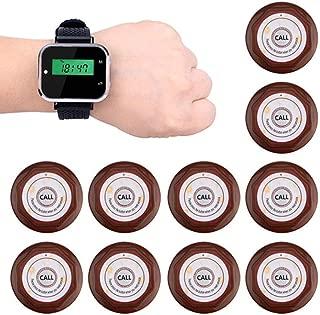 ウェイターコーリングページングシステムレストランゲストポケットベルワイヤレスカフェ1腕時計レシーバー+ 10コールボタントランスミッター,ブラウン
