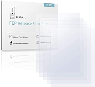 UniTak3D 5Pcs Película de FEP 260mmx180mm para MONO X,para Elegoo Saturn Impresoras 3D UV DLP LCD Resin Espesor 0,15 mm