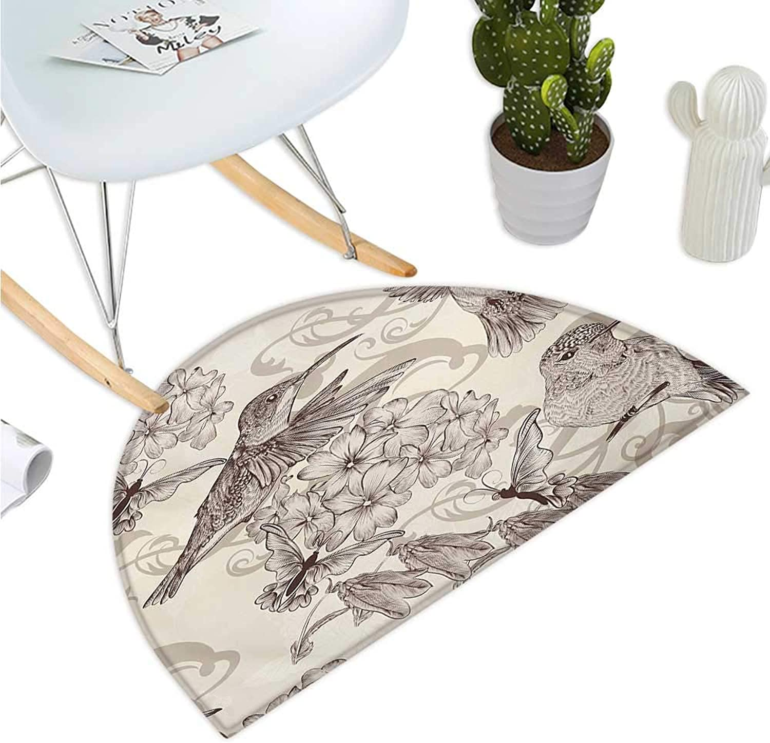 Hummingbirds Semicircular Cushion Birds and Flowers Monochromic Classical Design Nostalgia Ornate Festive Bathroom Mat H 51.1  xD 76.7  Cream Beige Brown
