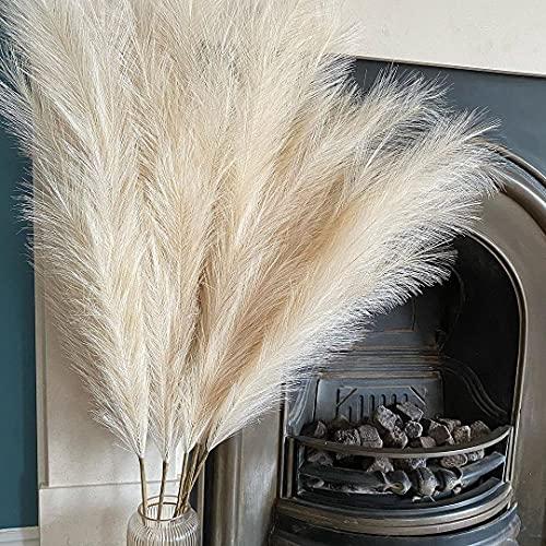 "Tall Faux Pampas Grass Large 43""/110cm 3 Pcs Fake Artificial Fluffy Stems Decor for Flowers Arrangement & Vase Decoration & Boho Bohemian Plume for Home, Wedding, Living Room, Bedroom, Kitchen Beige"