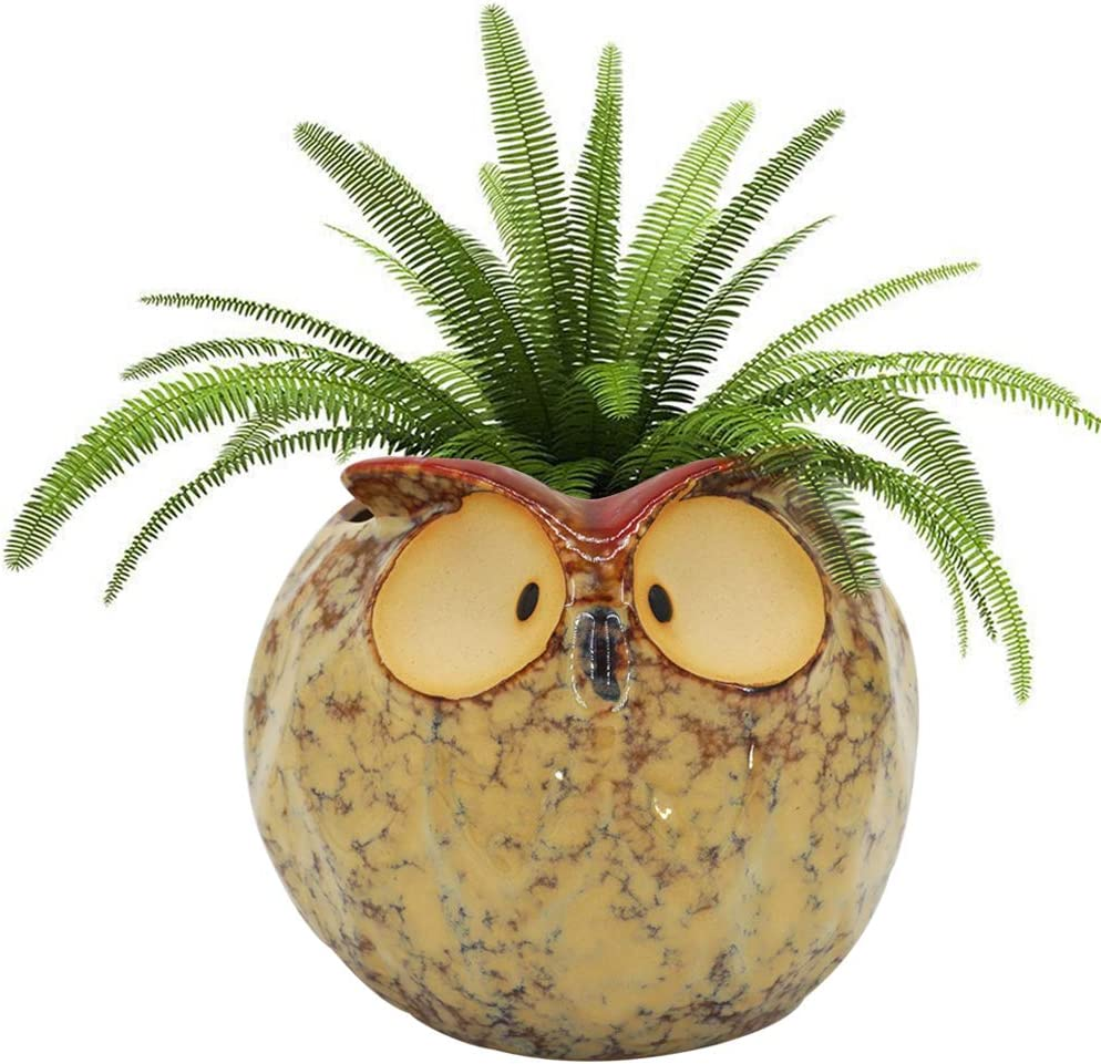GeLive Owl Planter Ceramic It is very popular Succulent Plant Animal Fun Superior Pot Flower