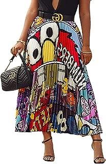 Women's Color Block Graffiti Pleated Skirts Cartoon A-Line Maxi Long Party Skirt