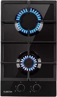 Klarstein Ignito Domino Placa de cocina - 2 fogones, Autárquico, 30 cm, Para montar, Quemador Sabaf, Gas natural/propano, Válvula de seguridad, Apagado automático, Vitrocerámica, Negro