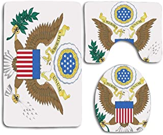 EnmindonglJHO Great Seal of The United States 3pcs Set Rugs Skidproof Toilet Seat Cover Bath Mat Lid Cover Cushions Pads