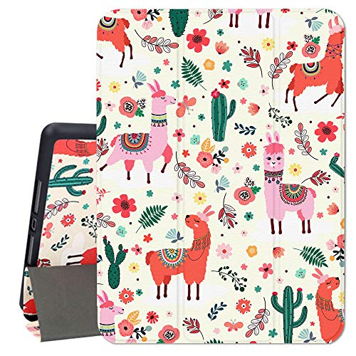 Hi Space iPad 10.2 Case Llama 2019, Alpaca Lama iPad 7th Generation Case with Pencil Holder, Cactus Cacti Cartoon Trifold Slim Stand Protective Shockproof Cover Auto Sleep/Wake for A2197 A2198 A2200