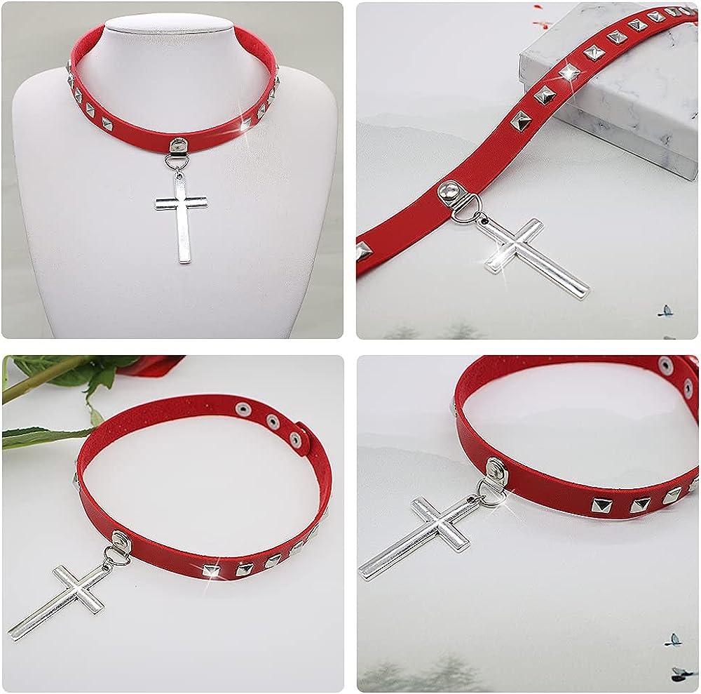 PU Leather Punk Rock Choker Necklace Cross Choker Collar Necklace Rivets Spiked Choker for Women Adjustable for Women Men