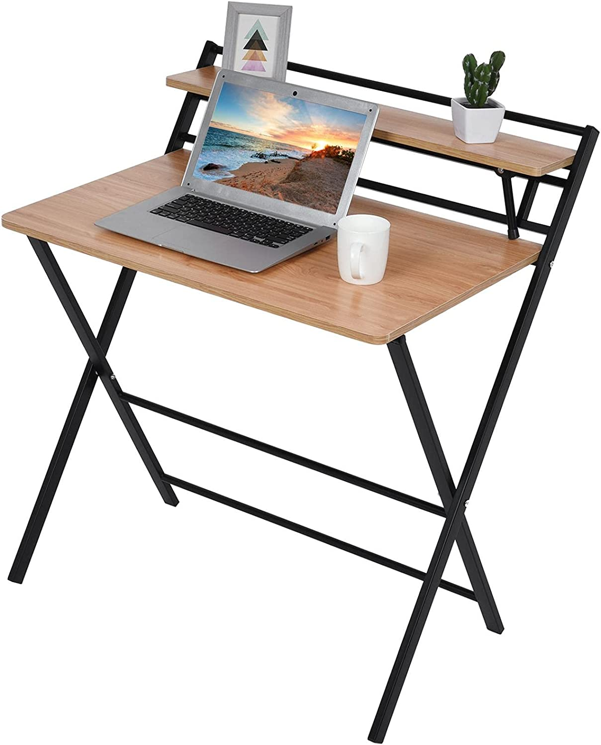 Folding Computer Seasonal Wrap Introduction Desk for Small 2 Assem Layer Free Product Space-UINKISY