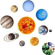 Pegatinas de Pared Luminosos 9 Planetas Pegatina Luminosa 3D Etiqueta Engomada para Habitación Infantil, Creatiees Resplandor en el Planetas Oscuro Pegatinas Decoración de la Pared