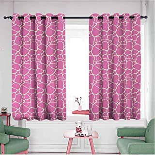 Mannwarehouse Wide Width Thermal Insulated Blackout Curtain, Light Reducing Room Darkening Giraffe Abstract Tropical Jungle Animal Skin Pattern Pink Camouflage Style Feminine Design Pink Cream