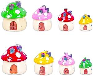 8pcs Mini Mushrooms Miniature Fairy Garden Accessories Mushroom House, Micro Landscape Garden Decoration, Plant Flower Pots Ornaments(4 Sizes)