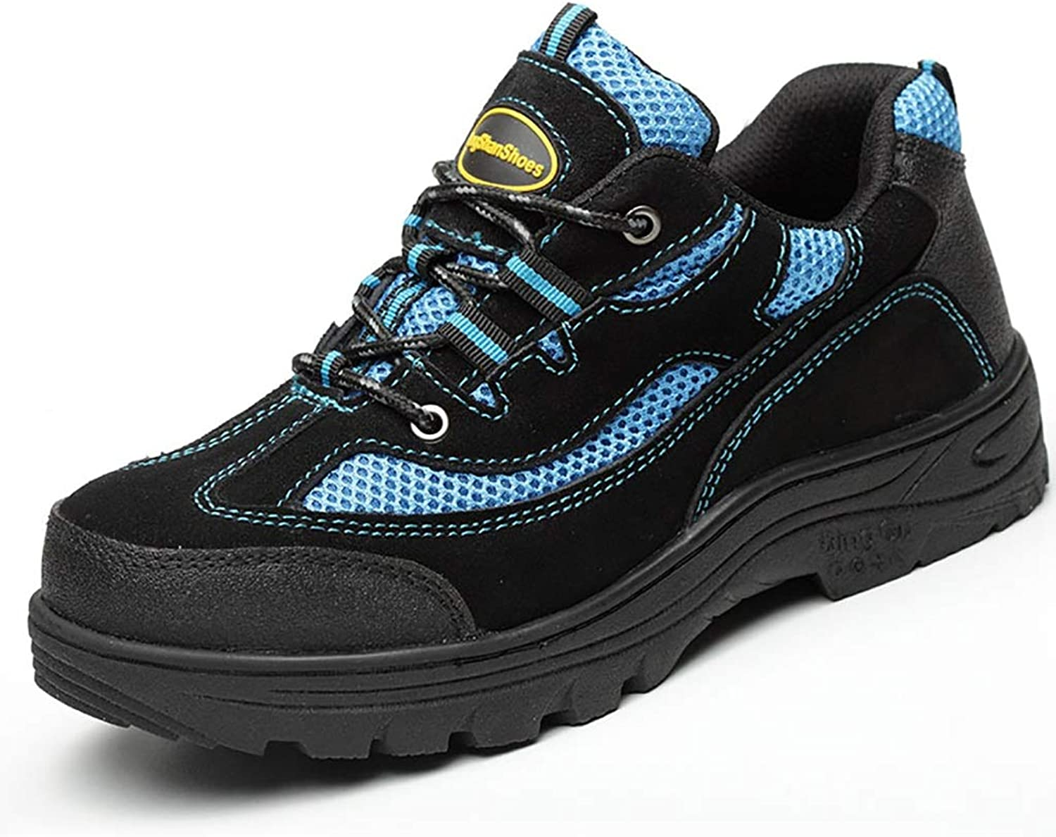 ZYFXZ Safety shoes Safety shoes men's breathable safety shoes deodorant steel toe anti-puncture work shoes work boots (color   bluee, Size   43)