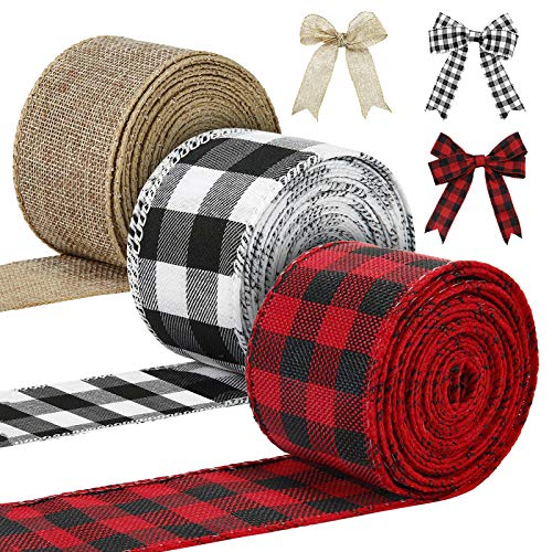 3 Rolls Christmas Ribbons Wired Edge 30 Yards x 2 Inches Black Red White Buffalo Plaid Ribbon Wired Weave Ribbon for Christmas DIY Wrapping Wedding Party Bow Craft Decoration Making