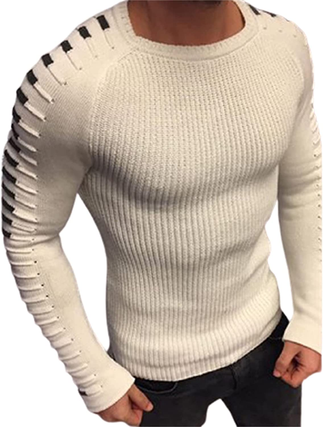 Men's Slim Jumper,Casual Crew Neck Knitted Sweater,Classic Slim Fit Long Sleeve Warm Ribbed Pullover