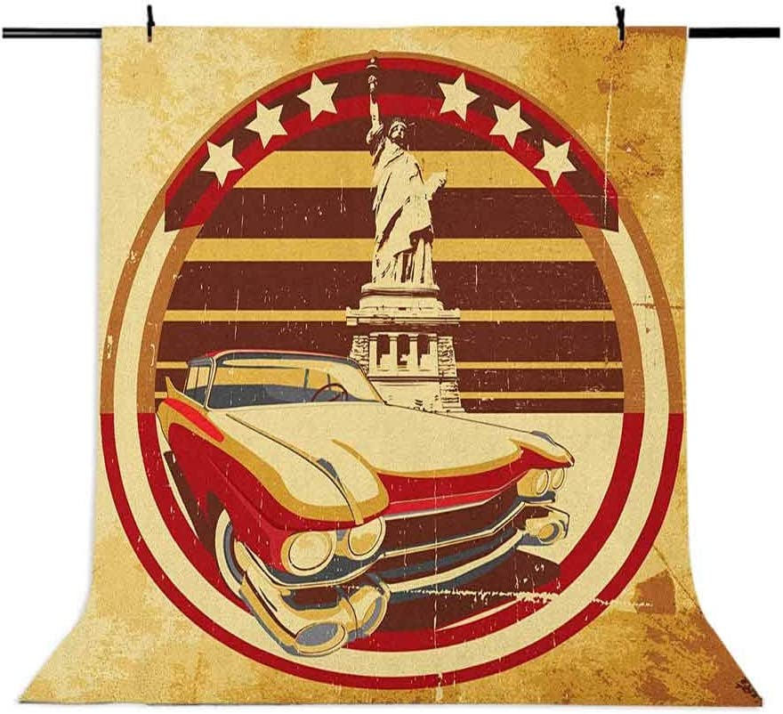 8x12 FT Vintage Car Vinyl Photography Backdrop,Vintage Car Image American Symbolism Statue of Liberty on Old Paper Print Background for Baby Birthday Party Wedding Studio Props Photography