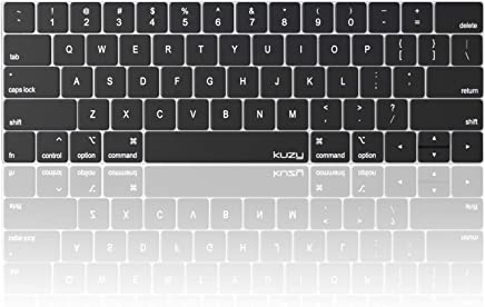 Kuzy - MacBook Pro Keyboard Cover with Touch Bar for 13 and 15 inch New 2019 2018 2017 2016 (Apple Model A2159, A1989, A1990, A1706, A1707) Silicone Skin Protector - Oxy Black